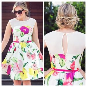 Ted Baker Mesh & Floral Skater Dress